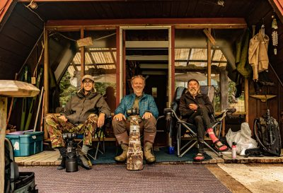 "Felix Rome, Thomas Lipke, Trapper ""Rick"" at Ricks Cabin in British Columbia Canada"